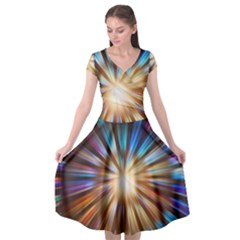 Background Spiral Abstract Cap Sleeve Wrap Front Dress by Desi8477