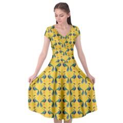 Cartoon Peacock Pattern Cap Sleeve Wrap Front Dress by Desi8477