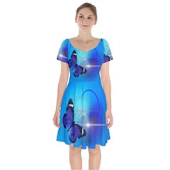 Butterfly Animal Insect Short Sleeve Bardot Dress by Desi8477