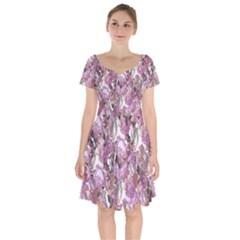 Romantic Pink Flowers Short Sleeve Bardot Dress by retrotoomoderndesigns