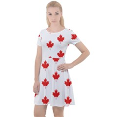 Maple Leaf Canada Emblem Country Cap Sleeve Velour Dress  by Mariart