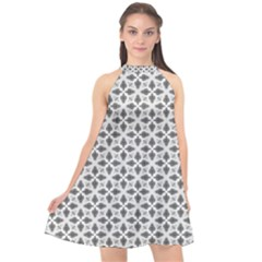 Black White Background Pattern Halter Neckline Chiffon Dress