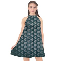 Texture Background Pattern Halter Neckline Chiffon Dress  by Alisyart