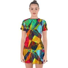 Color Abstract Polygon Background Drop Hem Mini Chiffon Dress by Desi8477