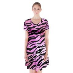 Funny Galaxy Tiger Pattern Short Sleeve V Neck Flare Dress by tarastyle