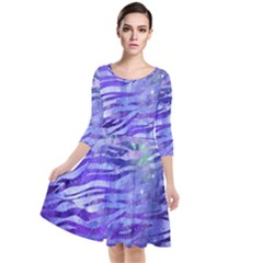 Funny Galaxy Tiger Pattern Quarter Sleeve Waist Band Dress by tarastyle