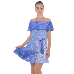 Funny Galaxy Tiger Pattern Off Shoulder Velour Dress by tarastyle