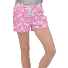 Colorful Tropical Hibiscus Pattern Women s Velour Lounge Shorts by tarastyle