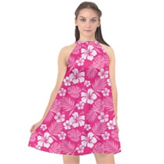 Colorful Tropical Hibiscus Pattern Halter Neckline Chiffon Dress