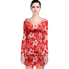 Colorful Tropical Hibiscus Pattern Long Sleeve Bodycon Dress by tarastyle