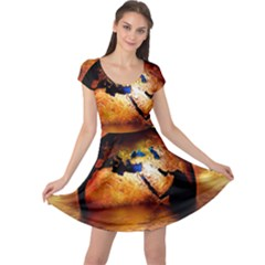 Earth Globe Water Fire Flame Cap Sleeve Dress by Desi8477