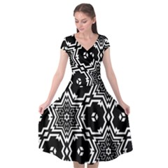 Black White Abstract Flower Cap Sleeve Wrap Front Dress by retrotoomoderndesigns