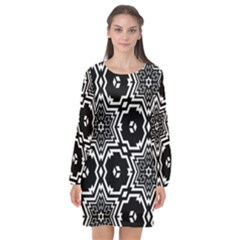 Black White Abstract Flower Long Sleeve Chiffon Shift Dress