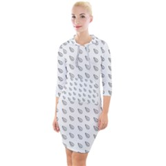 Leaves Plot Background Quarter Sleeve Hood Bodycon Dress by Mariart