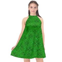 Leaf Clover Background Shamrock Halter Neckline Chiffon Dress  by Jojostore