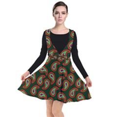 Pattern Abstract Paisley Swirls Plunge Pinafore Dress