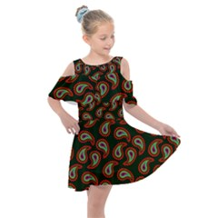 Pattern Abstract Paisley Swirls Kids  Shoulder Cutout Chiffon Dress by AnjaniArt
