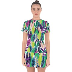 Leaves Rainbow Pattern Nature Drop Hem Mini Chiffon Dress