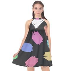 Many Colors Pattern Seamless Halter Neckline Chiffon Dress  by Desi8477