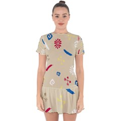 Pattern Culture Tribe American Drop Hem Mini Chiffon Dress