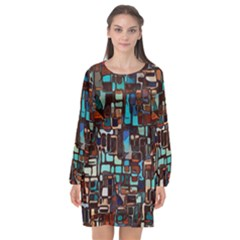 Mosaic Abstract Long Sleeve Chiffon Shift Dress  by Desi8477