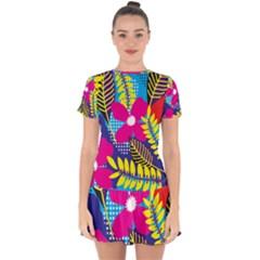 Pattern Leaf Polka Rainbow Drop Hem Mini Chiffon Dress by Desi8477
