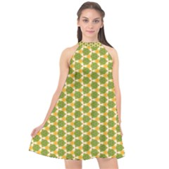 Pattern Halloween Pumpkin Color Green Halter Neckline Chiffon Dress