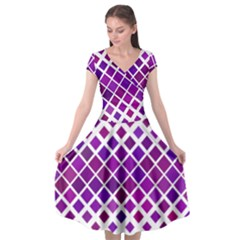 Pattern Square Purple Horizontal Cap Sleeve Wrap Front Dress by Desi8477