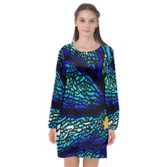 Sea Coral Stained Glass Long Sleeve Chiffon Shift Dress