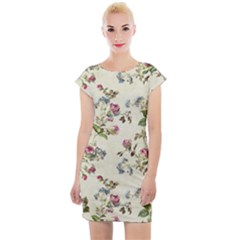 Vintage Roses Cap Sleeve Bodycon Dress