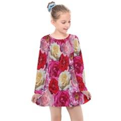 Bed Of Roses Kids  Long Sleeve Dress by retrotoomoderndesigns