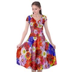 Multicolored Daisies Cap Sleeve Wrap Front Dress