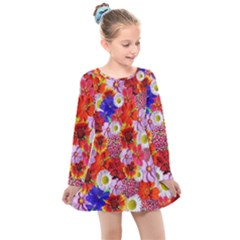 Multicolored Daisies Kids  Long Sleeve Dress by retrotoomoderndesigns