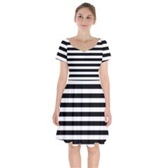 Black Stripes Short Sleeve Bardot Dress