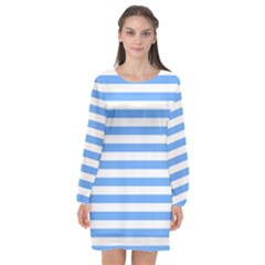Blue Stripes Long Sleeve Chiffon Shift Dress  by snowwhitegirl