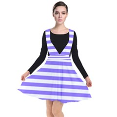 Lilac Purple Stripes Plunge Pinafore Dress by snowwhitegirl