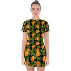Citrus Tropical Orange Black Drop Hem Mini Chiffon Dress by snowwhitegirl