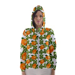 Citrus Tropical Orange White Hooded Windbreaker (women) by snowwhitegirl