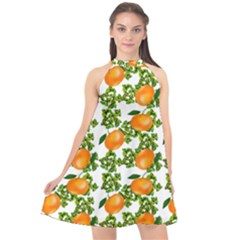 Citrus Tropical Orange White Halter Neckline Chiffon Dress  by snowwhitegirl