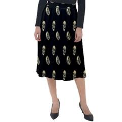 Skull Black Pattern Classic Velour Midi Skirt  by snowwhitegirl
