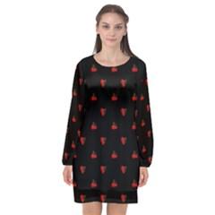 Candy Apple Black Pattern Long Sleeve Chiffon Shift Dress