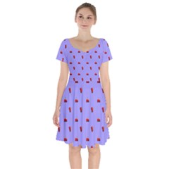 Candy Apple Lilac Pattern Short Sleeve Bardot Dress