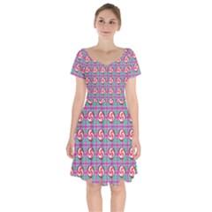 Peppermint Candy Pink Plaid Short Sleeve Bardot Dress by snowwhitegirl