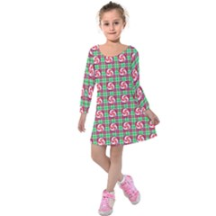 Peppermint Candy Green Plaid Kids  Long Sleeve Velvet Dress