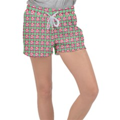 Peppermint Candy Green Plaid Women s Velour Lounge Shorts by snowwhitegirl