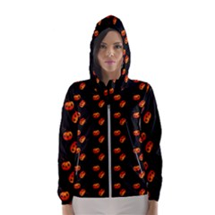 Kawaii Pumpkin Black Hooded Windbreaker (women) by snowwhitegirl