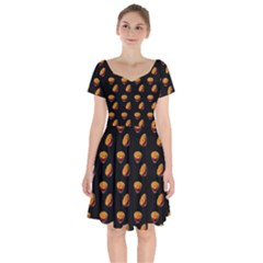 Kawaii Chips Black Short Sleeve Bardot Dress
