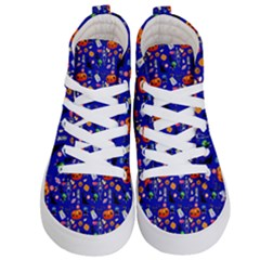 Halloween Treats Pattern Blue Kids  Hi Top Skate Sneakers