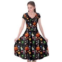 Halloween Treats Pattern Black Cap Sleeve Wrap Front Dress by snowwhitegirl