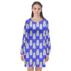 Ghost Pet Blue Long Sleeve Chiffon Shift Dress  by snowwhitegirl